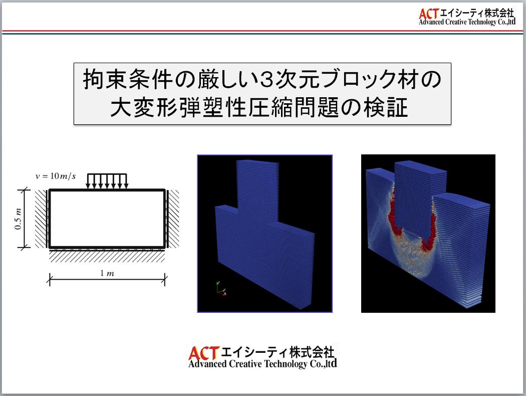 厳しい拘束条件下の3次元Blockの大変形大ひずみ圧縮解析(動画)